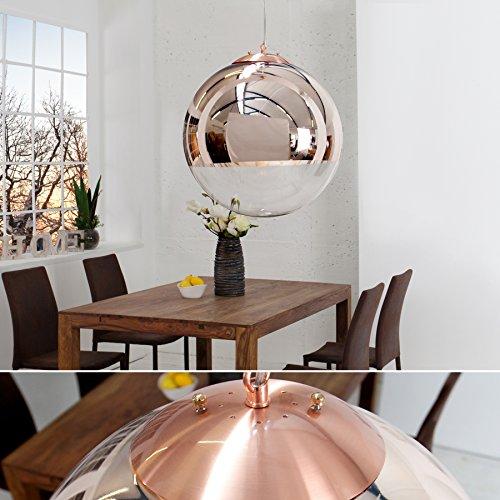 Edle Design Hängelampe GLOBE 40cm Glas Kupfer Kugelleuchte
