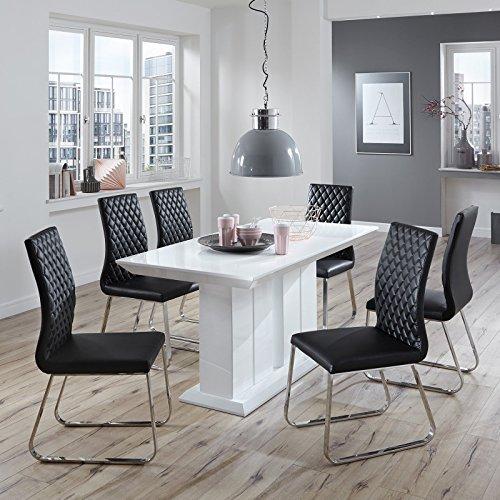 Essgruppe Hochglanz weiß Schwarz modern design Lisa Esszimmerstühle Essecke Kunstleder Edelstahl (160 x 90 cm)