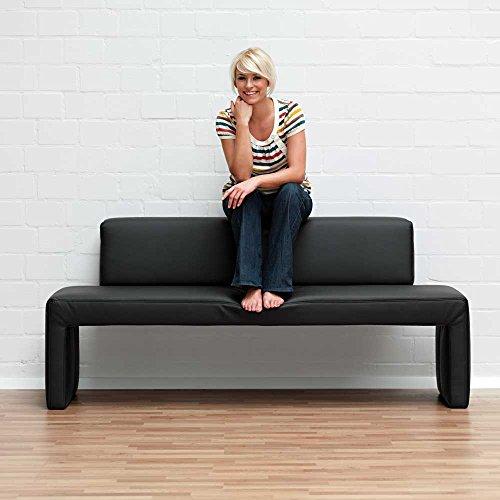 Esstisch Bank mit Rückenlehne Schwarz Breite 182 cm Sitzplätze 3 Sitzplätze Pharao24