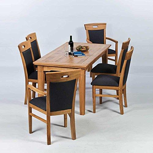 Esstisch mit Stühlen aus Wildeiche Braun (7-teilig) Pharao24