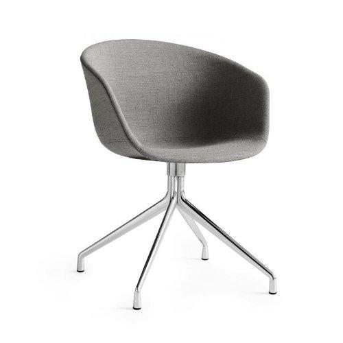 hay about a chair 21 armlehndrehstuhl gepolstert grau stoff remix 133 gestell aluminium poliert. Black Bedroom Furniture Sets. Home Design Ideas