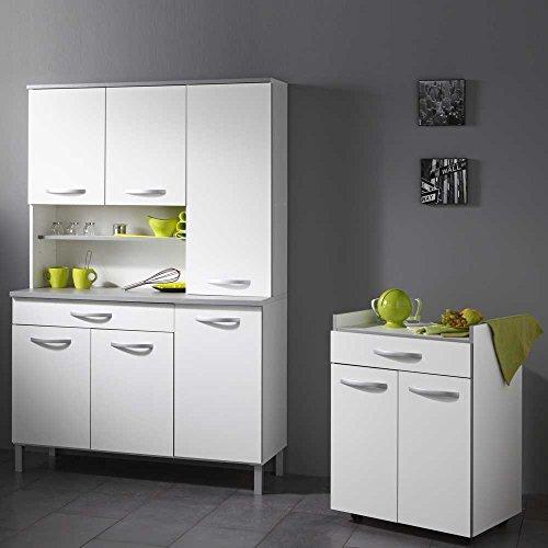 Küchenbuffetschrank in Weiß Grau mit Beistellschrank (2-teilig) Pharao24