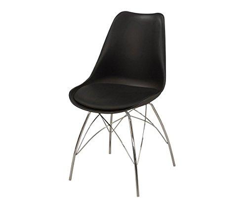Küchenstuhl Madoka Schwarz 48x87 cm Beine Verchromt Esszimmerstuhl