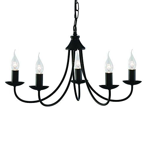 LED Kronleuchter Lüster Filament 5flammig Tuscany - Ø 56cm - schwarz