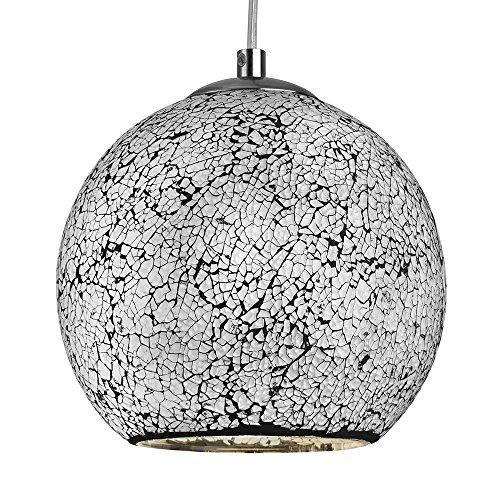 LED Pendelleuchte Mosaikglas Crackle rund - Ø 19,5cm - weiß