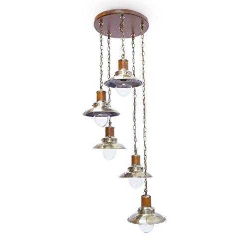 Relaxdays-Pendelleuchte-5-flammig-antik-Deckenlampe-Messing-Optik ...