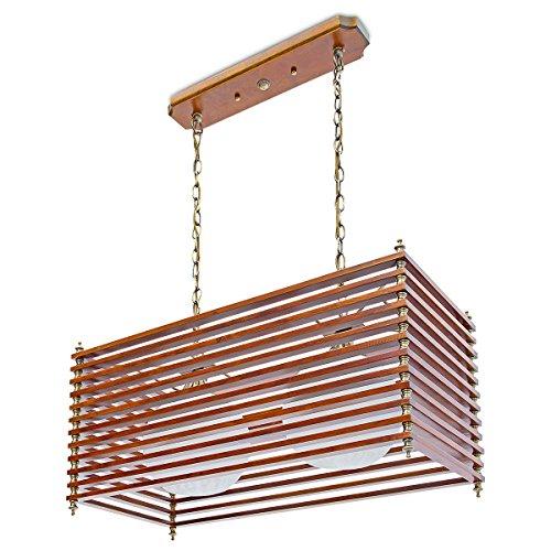 Relaxdays Pendelleuchte Holz, Metall und Milchglas höhenverstellbar maximum 84 cm 10018900