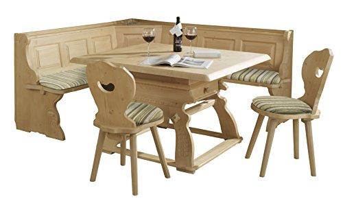 Schösswender EBG_Landau_Joglt-120x120_Sitz-ED-Gruen Eckbankgruppe Landau in Fichte massiv Rosner gewachst besteht aus, Jogltisch und 2 Stühlen, Bezug Edmonton, grün