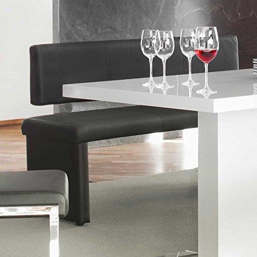 Sitzbank mit Lehne Lederbank schwarz Charly Breite 140 cm Sitzplätze 2 Sitzplätze Pharao24 – Möbel24