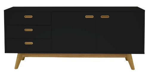 tenzo 2175 024 bess designer sideboard schwarz lackiert matt untergestell eiche massiv 72. Black Bedroom Furniture Sets. Home Design Ideas