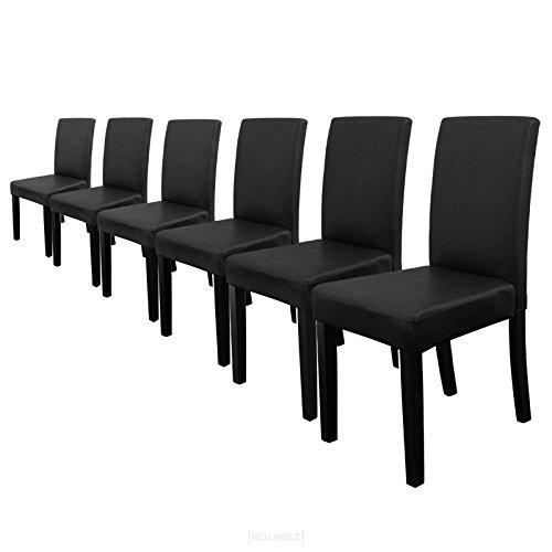 6 polsterst hle im sparpaket schwarz matt hochqualitativ mit beinen aus. Black Bedroom Furniture Sets. Home Design Ideas