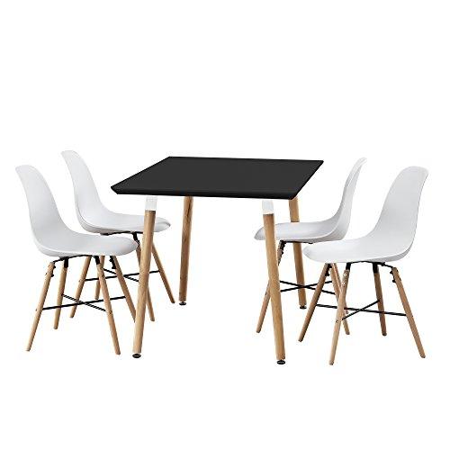 [en.casa] Esstisch Bambus mit 4 Stühlen weiß 120x80cm Esszimmer Essgruppe Küche