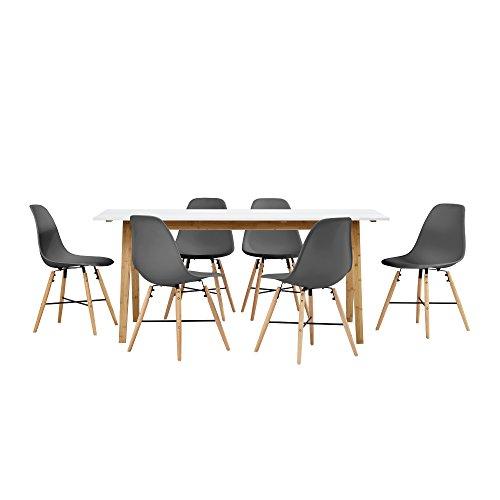 [en.casa] Esstisch Bambus weiß mit 6 Stühlen grau 180x80cm Esszimmer Essgruppe Küche