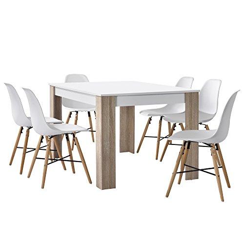 [en.casa] Esstisch Eiche mit 6 Stühlen weiß140x90cm Esszimmer Essgruppe Küche Set
