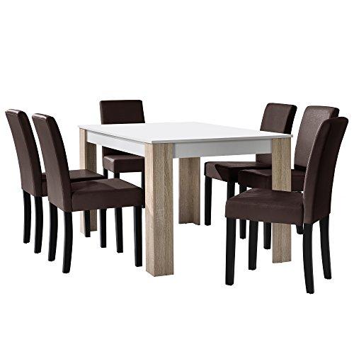 [en.casa] Esstisch Eiche weiß mit 6 Stühlen braun Kunstleder gepolstert 140x90 Essgruppe Esszimmer Set