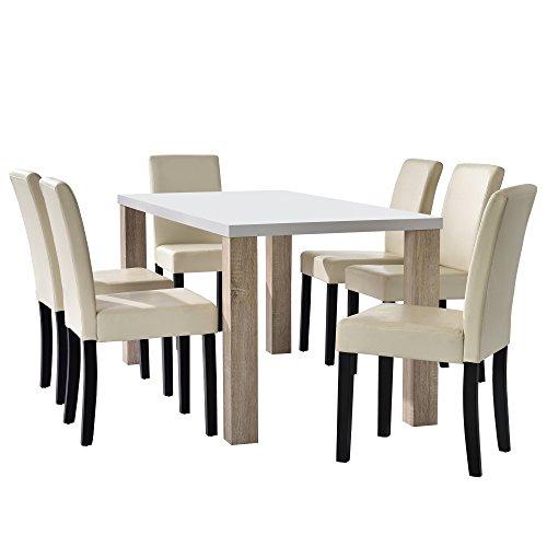 [en.casa] Esstisch Eiche weiß mit 6 Stühlen creme Kunstleder gepolstert 160x85 Essgruppe Esszimmer