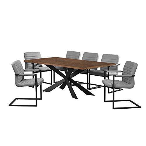 [en.casa] Esstisch Walnuss mit 6 Stühlen Freischwinger gepolstert grau 200x100cm Esszimmer Essgruppe Küche