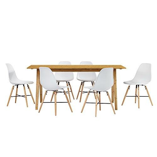 [en.casa] Esstisch aus echtem Bambus mit 6 Stühlen weiß 180x80cm Esszimmer Essgruppe Küche
