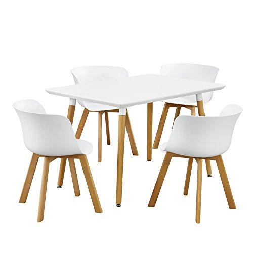 [en.casa]® Essgruppe - Esstisch mit 4 Stühlen Design - weiß - 120x80cm