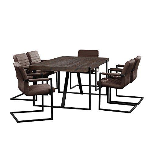 [en.casa] Esstisch Eiche Smoked mit 6 Stühlen Freischwinger gepolstert dunkelbraun 180x100cm Esszimmer Essgruppe Küche