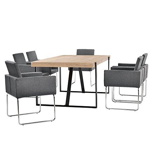[en.casa] Esstisch Eiche-hell mit 6 Stühlen dunkelgrau (82,5cmx54cm)