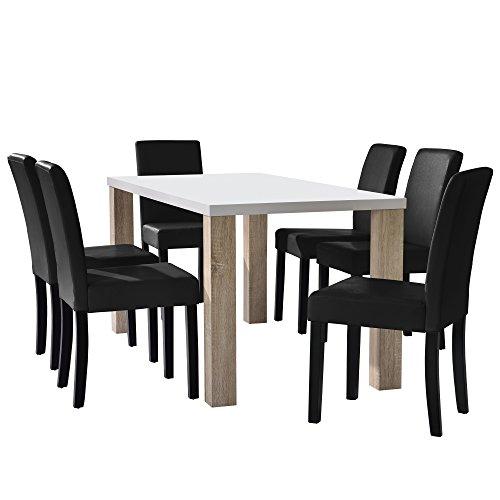 [en.casa] Esstisch Eiche weiß mit 6 Stühlen schwarz Kunstleder gepolstert 160x85 Essgruppe Esszimmer