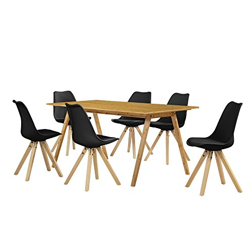 [en.casa] Esstisch / Essgruppe mit 6 Stühlen schwarz 180x80
