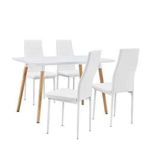 [en.casa] Esstisch / Esszimmertisch / Küchentisch (120x80cm) mit 4 Polster-Stühlen aus PU- Kunstleder weiß - Essgruppe in Sparpaket