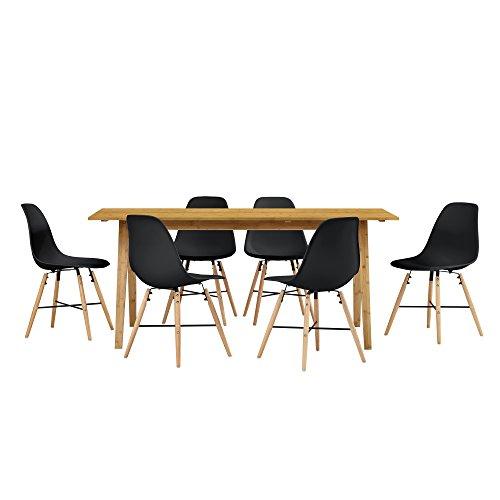 [en.casa] Esstisch aus echtem Bambus mit 6 Stühlen schwarz 180x80cm Esszimmer Essgruppe Küche