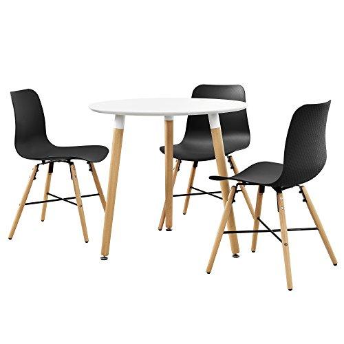 [en.casa] Esstisch in Weiß (rund - ø80cm) mit 3 Design-Stühlen schwarz - Sitzgruppe in Retro-Look
