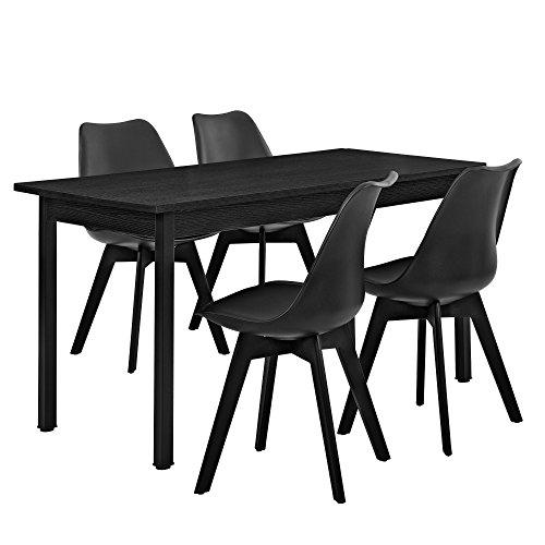 [en.casa] Esstisch schwarz 140cm x 70cm mit 4 Stühlen schwarz
