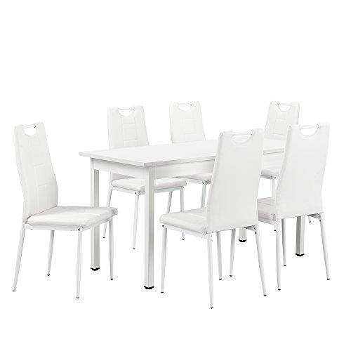 [en.casa] Esstisch weiß 140cm x 70cm mit 6 Stühlen weiß
