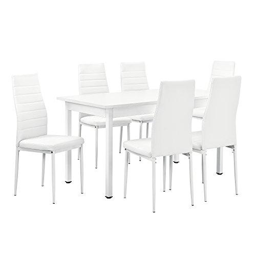 [en.casa]® Esstisch weiß 140cm x 70cm x 75cm + Stühle weiß 96 cm x 43cm