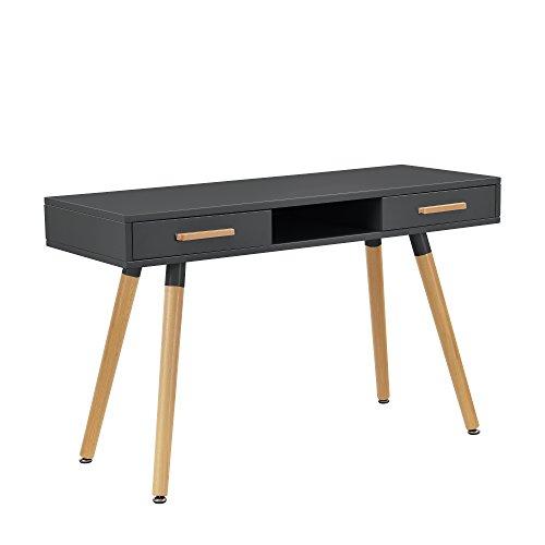 Retro schreibtisch 75x120x45cm grau matt for Schreibtisch holzbeine