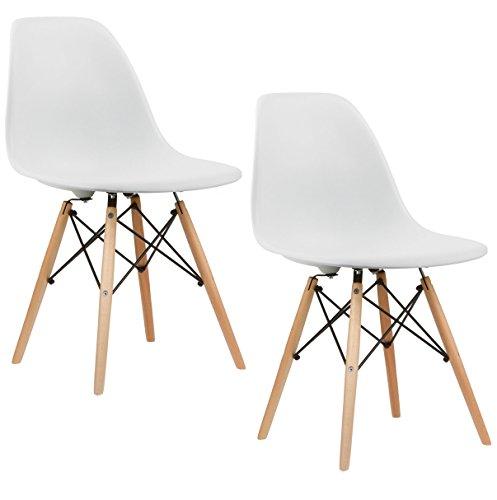 Charles & Ray inspiriert Eiffel DSW Retro Design Wood Style Stuhl für Büro Lounge Küche–weiß (2)