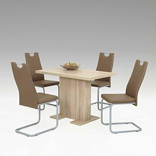 essgruppe mit s ulentisch eiche sonoma braun 5 teilig pharao24 esszimmerst. Black Bedroom Furniture Sets. Home Design Ideas