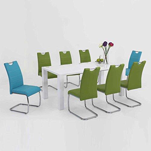 esstischgruppe mit ausziehbarem tisch wei hochglanz blau. Black Bedroom Furniture Sets. Home Design Ideas