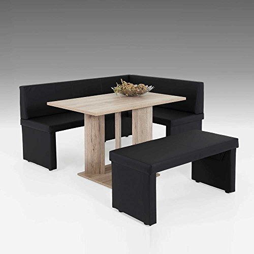 esszimmer sitzecke in eiche san remo schwarz kunstleder 3. Black Bedroom Furniture Sets. Home Design Ideas