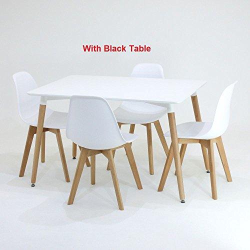 P & N Homewares® EVA Esstisch und Stühle Set 4Stühlen und 1Esstisch Retro und Moderne Esszimmergarnitur weiß schwarz und grau Stühle weiß