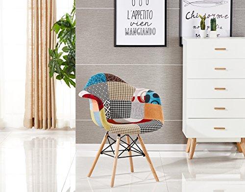 P & N Homewares® Moda Patchwork Stuhl Esszimmerstuhl oder Bürostuhl oder Stuhl Wunderschöner Stoff Kombination modernen Retro-Stuhl, WITH ARMS