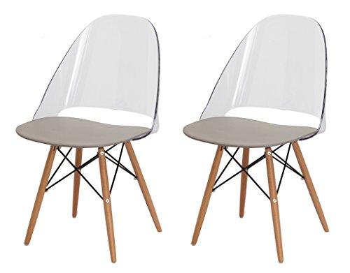 Set 2Stühle mit Beinen aus Buchenholz Ultra robust und stabil Design by Ludovico Bernardi–Annie durchsichtig