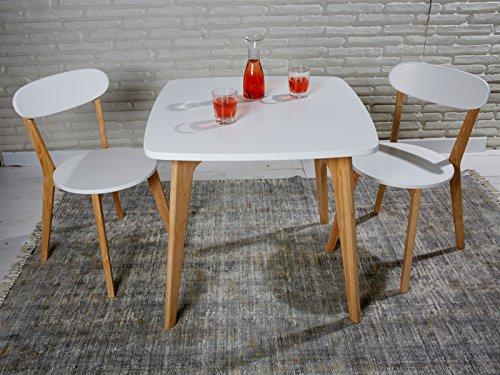 sitzgruppe aus esstisch und 2 st hlen im skandinavischen retro stil wei mit massivholzbeinen. Black Bedroom Furniture Sets. Home Design Ideas