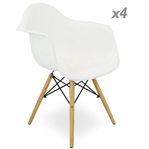 Stuhl Eiffelturm inspiriert Sessel Kunststoff weiß 4 Einheiten