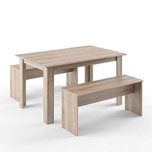 Tischgruppe Eiche Sonoma 140x90 cm - 4 bis 6 Personen - Esszimmer Esstisch Küche Sitzgruppe Tisch Bank Braun 3 Teile - extra stabil - Bänke flexibel verstaubar