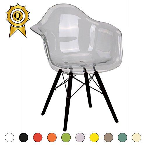 VERKAUF! 1 x Design-Stuhl Eiffel Stil Schwarz Holz Beine und Sitz Farbe Transparent Clear Mobistyl® DAWB-TC-1