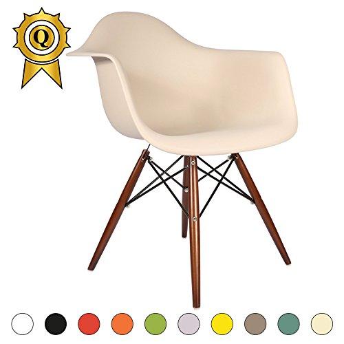 VERKAUF! 1 x Design-Stuhl Eiffel Stil Walnussholz Beine und Sitz Farbe Cream Mobistyl® DAWD-CR-1