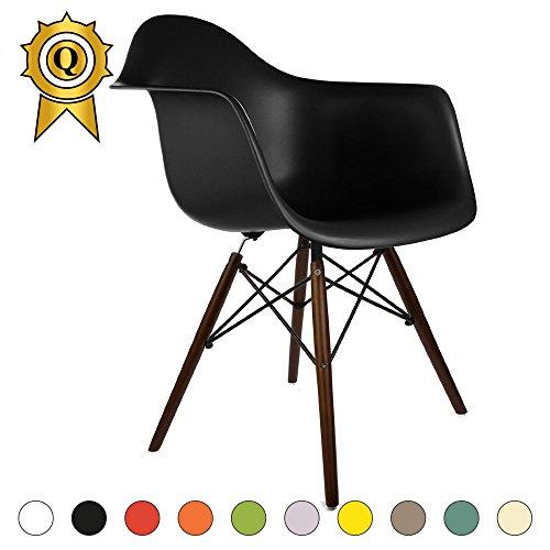 VERKAUF! 1 x Design-Stuhl Eiffel Stil Walnussholz Beine und Sitz Farbe Schwarz Mobistyl® DAWD-NO-1