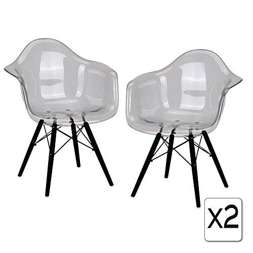 VERKAUF! 2 x Design-Stuhl Eiffel Stil Schwarz Holz Beine und Sitz Farbe Transparent Clear Mobistyl® DAWB-TC-2