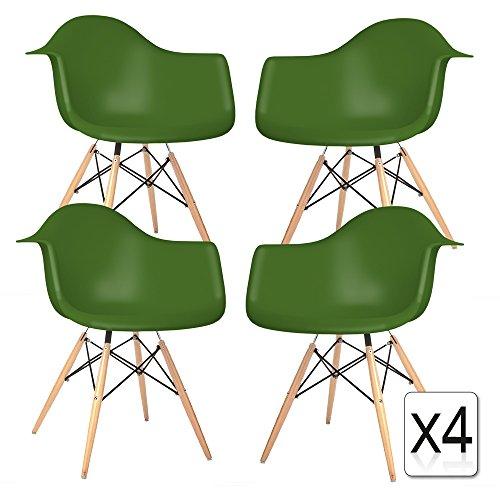 VERKAUF! 4 x Design-Stuhl Eiffel Stil Natural Wood Beine und Sitz Farbe Grüner Cactus Mobistyl® DAWL-VC-4