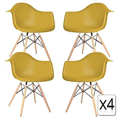 VERKAUF! 4 x Design-Stuhl Eiffel Stil Natural Wood Beine und Sitz Farbe Senf Mobistyl® DAWL-MU-4
